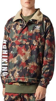 adidas Originals x Pharrell Williams Hu Hiking Camouflage Quarter-Zip  Windbreaker Jacket Pharrell Williams 7eaa6b249e1c