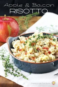 The best creamy risotto made with apples, bacon and a hint of thyme. It's apple season around our yard (only one tree and about 200+ Regent apples!) and I been asked by the DIY Guy to start using them up.  We've made crisps and pies but I really wanted to try them in a savory...
