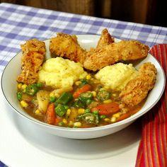 Fried Chicken Stew with Corn Flour Dumplings