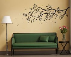 Removable Tree Branch Wall Sticker with falling leaves, bird cages, & birds Wall Sticker Design, Wall Decal Sticker, Removable Wall Stickers, Tree Wall, Home Decor Wall Art, Vinyl Wall Decals, Tree Branches, Falling Leaves, Etsy