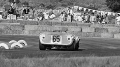 Hap Sharp turns his Chaparral into turn 9 at Laguna Seca, 1965. This is a view seldom recorded by race photographers and it provides an outstanding perspective of the late configuration of the Chaparral 2. Duke Manor photo.