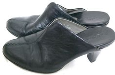 """Born Shoes Crown Black leather High Heel Mule Clogs 3"""" heel W31232 Size 8/39 #Born #Mulesclogs #Casual"""