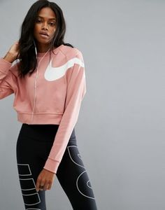 Nike - Sweat-shirt court à manches longues - Rose Legging Outfits, Nike Outfits, Sporty Outfits, Latest Fashion Clothes, Latest Fashion Trends, Fashion Outfits, Fashion Online, Womens Fashion, Hoodie Sweatshirts