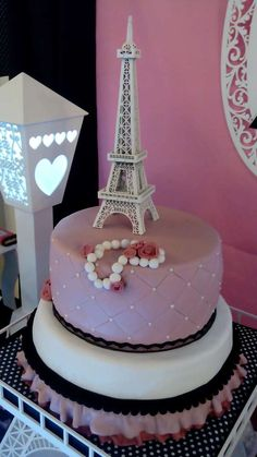 Beautiful cake at a Paris birthday party! See more party ideas at CatchMyParty.com!