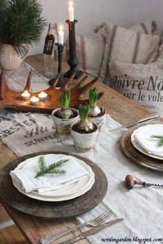 Rustic holiday place setting.