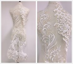 Champagne Ivory Lace Applique with sequins for Wedding dress, Lace bodice, Garments Polka Dot Fabric, Sequin Fabric, Tulle Fabric, Bridal Hair Flowers, Bridal Lace, Applique Embroidery Designs, Lace Applique, Beaded Trim, Beaded Lace