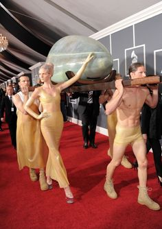 "GRAMMY Red Carpet Moments  - Lady Gaga - Before hatching on the GRAMMY stage to perform ""Born This Way,"" Lady Gaga gestated her routine inside a gigantic egg at the 53rd GRAMMY Awards in 2011"