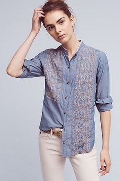Embroidered Chambray Buttondown #anthropologie