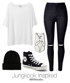 Basic Colors: Jungkook by btsoutfits on Polyvore featuring polyvore fashion style Acne Studios Converse NLY Accessories RIPNDIP clothing