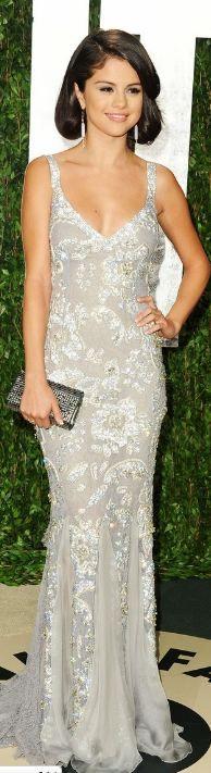 Selena Gomez in a beautiful silver Dolce & Gabbana gown.
