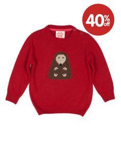 hedgehog red knit jumper
