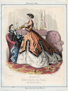 Petit Courrier des Dames February 1866 Casey Fashion Plates Detail | Los Angeles Public Library