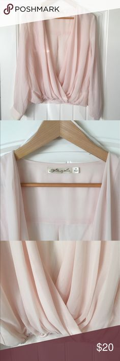 Pink Blouse Feminine pink blouse. Gathered at bottom looks cute with jeans. Deep V-neck Tops Blouses