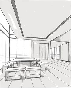 Vector illustration of interior design. In the style of drawing. Interior Architecture Drawing, Architecture Drawing Sketchbooks, Architecture Concept Drawings, Watercolor Architecture, Architecture Logo, Interior Design Sketches, Architecture Details, Perspective Drawing Lessons, Interior Minimalista