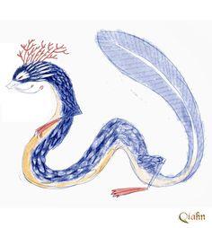 Dragón de Agua: boceto 9 / Water Dragon: sketch #9. Art by juanbjuan
