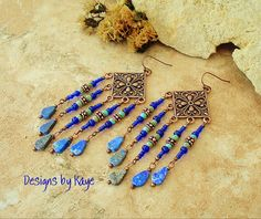 Boho Jewelry Chandelier Earrings Blue Lapis Lazuli by BohoStyleMe