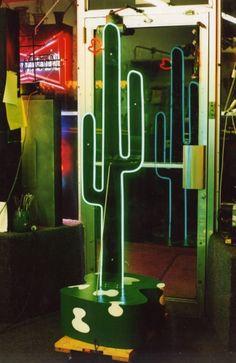 standing neon cactus sculpture