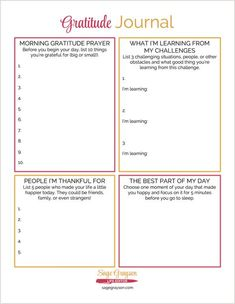 Free Printable Gratitude Journal - Sage Grayson Life Editor This free printable gratitude journal is an easy way to start your own gratitude habit.<br> This free printable gratitude journal is an easy way to start your own gratitude habit. To Do Planner, Life Planner, Bujo, Developement Personnel, Minimalist Bullet Journal, Relation D Aide, Journaling, Attitude Of Gratitude, Journal Pages