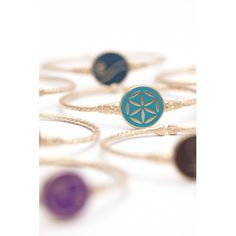 Mesele handmade bracelet enameled on gold plated bronze and with flower of life symbol in turquoise