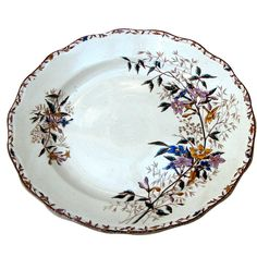 A late 19th century iron stone part dinner service. Sarreguemines. Jasmin pattern. Marked. France ca. 1895.