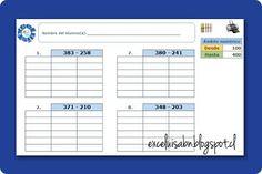 ExceLuisABN Matemática y Excel: Generador de ejercicios: Restas, con el algoritmo ...