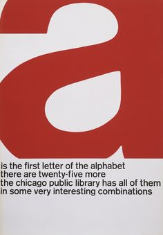 """John Rieben. A Is the First Letter of the Alphabet. Printer: Screen Print Diversified. 1965-66. Lithograph, 50 x 35"""" (127 x 88.9 cm) _ #Poster #Affiche #Typo #GraphicDesign"""