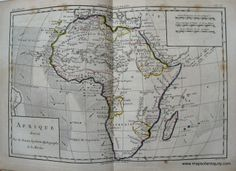 Antique Map of Africa from 1780 - Great for Father's Day – Original, Vintage, Rare Historical Antique Maps, Charts, Prints, Reproductions of Maps and Charts of Antiquity- MapsofAntiquity.com