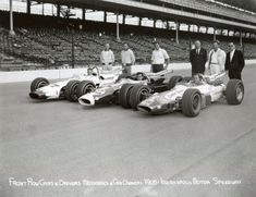 Front row for 1965 Indianapolis 500 - L to R, Dan Gurney, Jim Clark and A.J. Foyt (IMS Archives)
