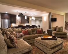 Prestigious Traditional Basement with Light Brown L Shaped Sofa and Coffee Table Involved Most Comfy Couch on Wood Floor