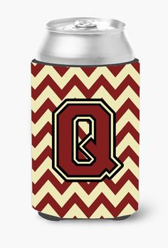 Letter Q Chevron Maroon and Gold Can or Bottle Hugger CJ1061-QCC
