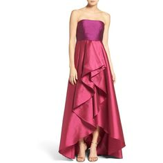 Women's Adrianna Papell Colorblock Strapless Gown (€265) ❤ liked on Polyvore featuring dresses, gowns, strapless high-low dresses, adrianna papell evening dresses, adrianna papell gowns, strapless gown and high low gown