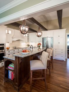 , Fascinating Transitional Kitchen Design With Cream Upholstered Stools With…