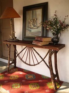 Log and twig console table by willowlanerustics on Etsy, $330.00