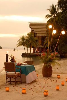 Wouldn't this make for a wonderful evening? A beautiful, romantic beach dinner set up at the Pearl Farm Hotel, the Philippines. #romance #romanticplaces #PearlFarmHotel