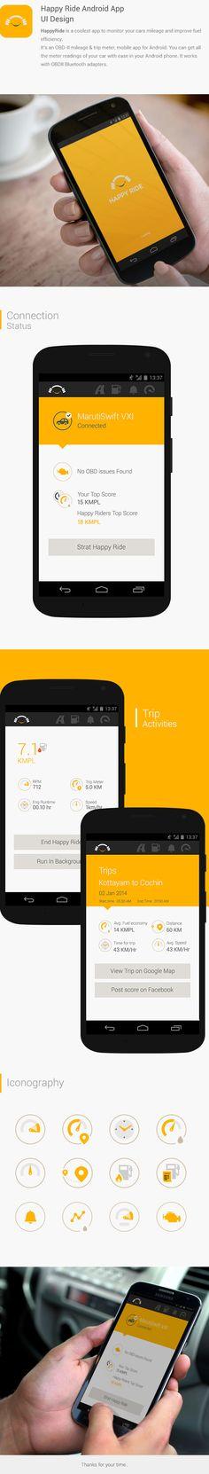 Happy Ride - Android App by vijilal tharaniyil, via Behance Mobile Ui Design, App Ui Design, Web Design, Android App Icon, Android Ui, Ios App, App Promotion, Mobile App Ui, Ui Design Inspiration