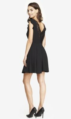 BLACK LACE BACK KEYHOLE FIT AND FLARE DRESS from EXPRESS