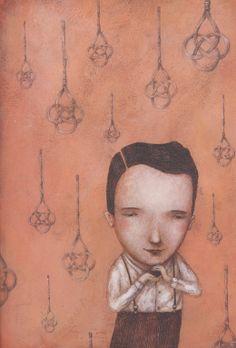 """Ofra Amit Illustration from """"Bruno: il bambino che imparò a volare"""" (book about Bruno Schulz)."""