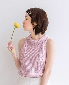 Cable Stitch Sleeveless Top Free Knitting Pattern