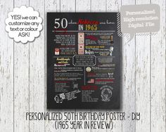 Personalized 50th Birthday Poster, Printable, 1965 Birthday, What happened in 1965, Milestone Birthday - High resolution Digital File