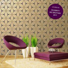 Bold Bright Statement Metallic  Pattern Wallpaper | VIBRATION GOLD BLACK GEOMETRIC GLITTER WALLPAPER | Buy Online