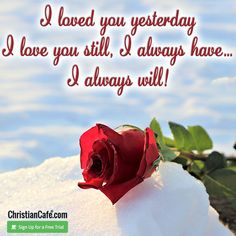I loved you yesterday. I love you still, I always have... I always will! You And I, I Love You, Christian Singles, Always You, Single Dating, Online Dating, Be Still, Believe, You And Me