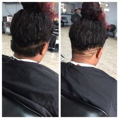 Before and after. Natural hair undercut. Got it shaped up by Sanchez @ High Definition Studio Barbershop in Gainesville, GA.