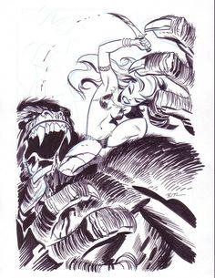 Girl and Gorrilla, in Matthew Mahan's Bruce Timm Comic Art Gallery Room - 198211