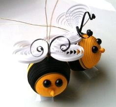 Bumble Bee Ornaments Paper Quilled in Black by WintergreenDesign