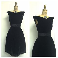 1950s Black Velvet Party Dress 50s by CreatedAndCollected on Etsy, $88.00