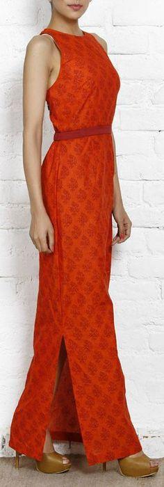 orange n red mangalgiri printed maxi dress