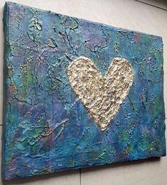 Acrylbild Leinwand 40 x 30 Blattgold Herz Liebe von BeGehrLich