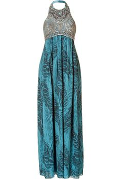MATTHEW WILLIAMSON Embellished Halter Gown with Feather Print