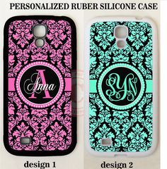 PINK TEAL BLACK DAMASK CUSTOM MONOGRAM PHONE Case For Samsung Galaxy S8 S7 NOTE #UnbrandedGeneric