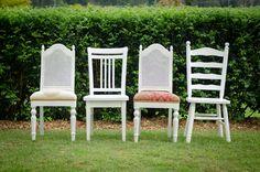 Always wanted to do this. Hit up flea markets and redo the chairs. White wooden mix-matched chairs (30 available for hire)